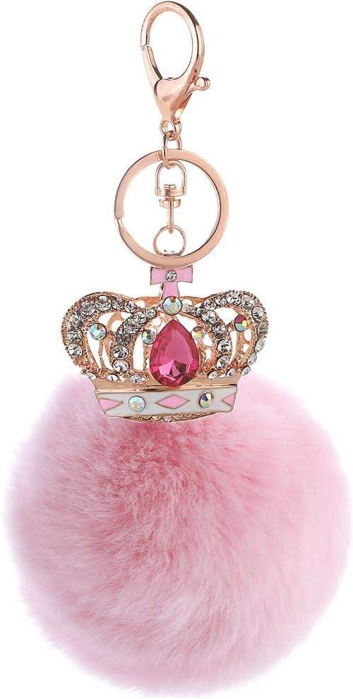 Colgante De Bolso De Bola De Piel con Corona De Gema para Mujer con Gema Rosa De Diamantes De Imitación+Bola De Piel Rosa