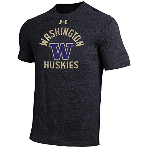 Under Armour NCAA Washington Huskies Men's Short Sleeve Tri-Blend Tee, Black, Large - Washington Huskies Ncaa Tee