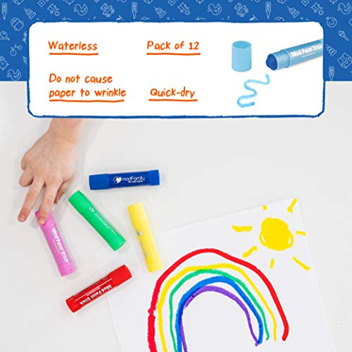 Mod Paint Sticks - Washable Solid Tempera Paint Markers - Non-Toxic, Quick Drying, and No Mess Paint Sticks - Color Art Supplies Set for Kids and Families - (12 Pack) - ModFamily