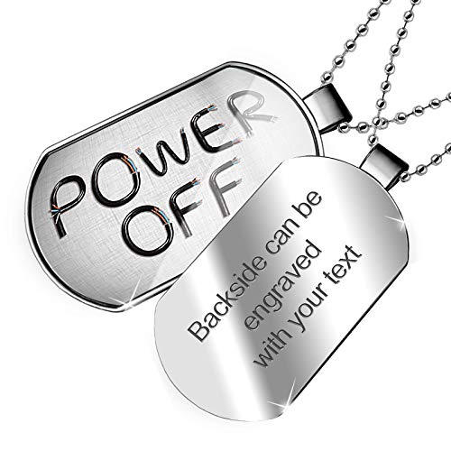 NEONBLOND Personalized Name Engraved Power Off Electronics Wires and Cables Dogtag Necklace