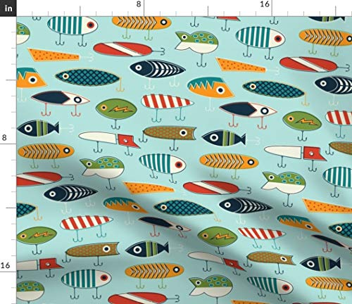 Spoonflower Mod Fishing Lure Fabric - Hooked Up Scandinavian Summer Vintage Retro Fish Antique Bright Print on Fabric by The Yard - Eco Canvas for Durable Upholstery Home Decor Accessories