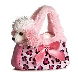 Aurora Fancy Pals - Perro caniche de peluche con bolso de transporte, color rosa