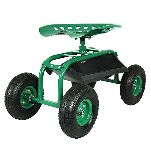 Sunnydaze Rolling Garden Cart with 360 Degree Swivel Seat & Tray, Green