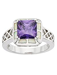 Sterling Silver Created White Opal & Square Amethyst CZ Ring