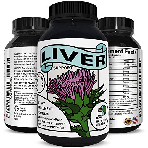 Best Liver Supplements with Milk Thistle - Artichoke - Dandelion Root Support Healthy Liver Function for Men and Women Natural Detox Cleanse Capsules Boost Immune System Relief - World Class Vitamins