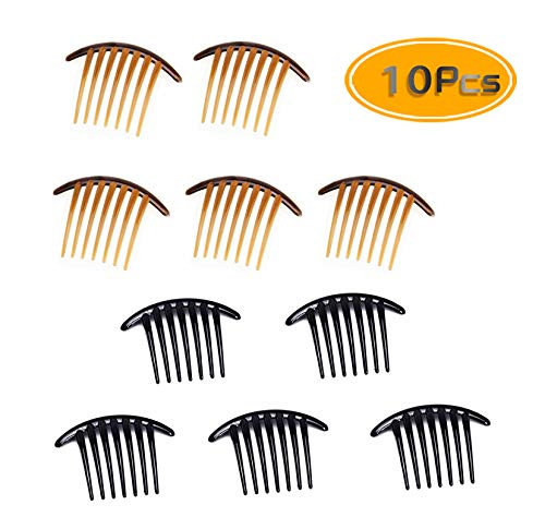 (Fireboomoon 10PCS Contemporary Seven Tooth French Twist Comb, Hair Side Comb Hair Clip, Black And Brown (Two Colors, Each Five) French Twist Comb,French Twist Hair Comb,French Comb,French Twist )