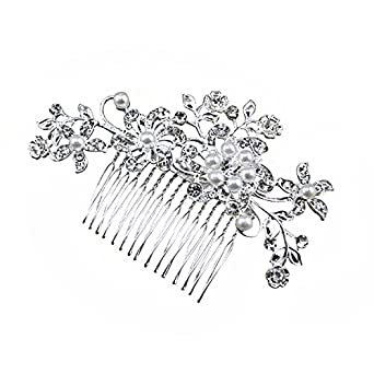 Brautschmuck haare blumen perlen  Damen Spange Haarschmuck Blumen elegant Stirnband Haarreif ...