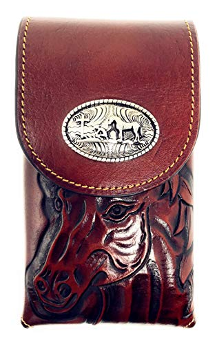 Western Cowboy Medium Size Genuine Leather Praying Cowboy Smartphone Galaxy iPhone Holder Holster Cellphone Case (Horse Brown) by Texas West