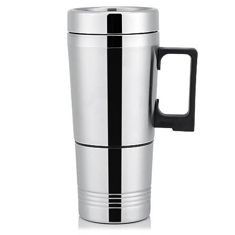 Termo Taza Electrico Calentador para Coche,Termo de café para llevar, Taza térmica de acero inoxidable para viaje 12V/24V (12V)