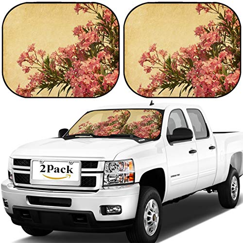 MSD Car Windshield Sun Shade, Universal Fit, 2-Piece for Car Window SunShades, Automotive Foldable Protector Cover, Image ID: 22251424 Pink Flowers of Oleander in Retro Style