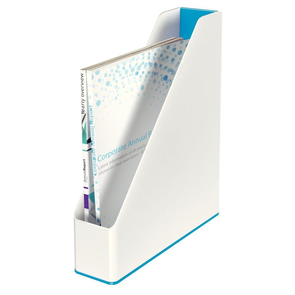 Dual Colour WOW Range White//Metallic Grey A4 Leitz 53621001 Magazine File