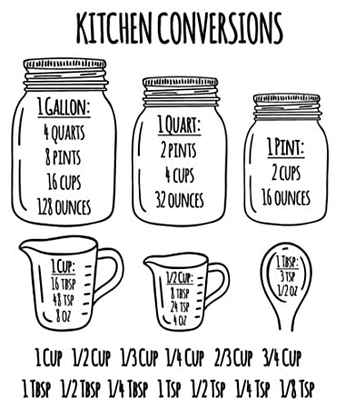 e6da8a5362db Amazon.com  Kitchen Measuring Conversion Chart Decal Baking Spoons Cooking  Cups Vinyl Sticker Wall Decal Decal  Home   Kitchen