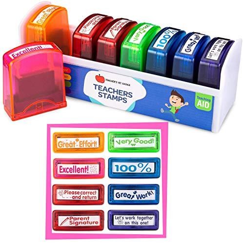 Teacher Stamps for Grading Papers | Recognize, Inspire and Motivate with These Teacher Stamp Set with Storage and Organization Tray (8-Piece Set)