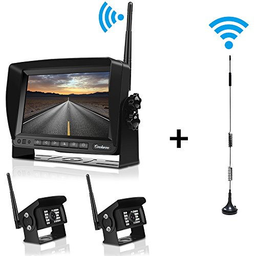 Digital Wirelss Backup Camera System Kit for RV, trailer, IP69 Waterproof IR Super Night Vision No Interference Dual Built-in Rear View Cameras & 7'' Split Reversing Monitor for Truck, Motorhome -