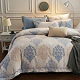 4 Piece Luxury Paisley Vintage Print Brushed Cotton Duvet Cover Set,Ethnic Bedding Set Flat Sheet with Pillowcases,Blue and Grey,Twin/XL Twin(78