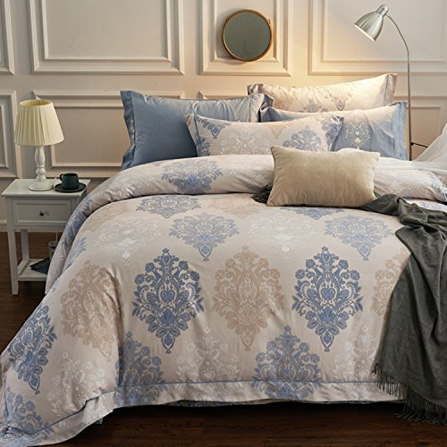 4 Piece Luxury Paisley Vintage Print Brushed Cotton Duvet Cover Set,Ethnic Bedding Set Flat Sheet with Pillowcases,Blue and Gray,Full/Queen(86