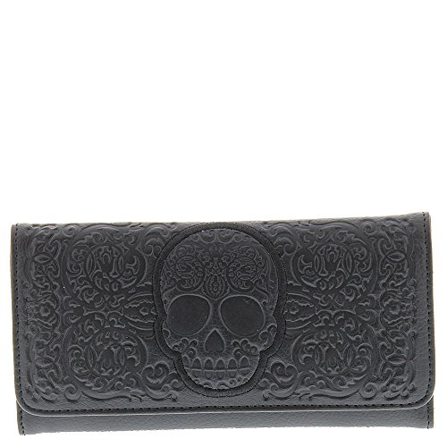 ull Wallet, Black, One Size (Black Skull Tri Fold Wallet)