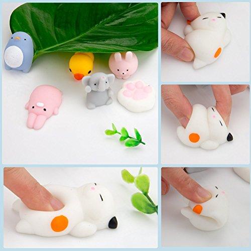 WATINC Random 30 Pcs Cute Animal Mochi Squishy, Kawaii Mini Soft Squeeze Toy,Fidget Hand Toy for Kids Gift,Stress Relief,Decoration, 30 Pack by WATINC (Image #5)