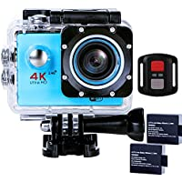 Sports Action Camera Ultra HD Waterproof DV Camcorder 4K WIFI Cam 1080P 170 Degree Wide Angle with Remote Blue