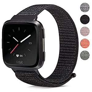 For Fitbit Versa Bands/Gear S3 Universal, Marvel.P Replacement Woven Nylon Sport Watch Band Breathable Bracelet Strap Hook and Loop Fastener Adjustable Closure Wristbands for Fitbit Versa Smart Watch (Black, 5.5-8.6 inch(140mm-220mm) Wrist)