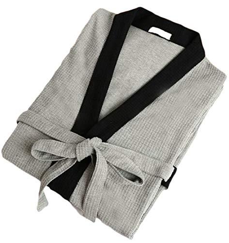 Cromoncent Men's Waffle Pajama Bathing Pocket Casual Contrast Color Belt Sleep Bathrobe Gray S by Cromoncent (Image #1)