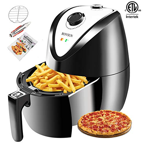 ROVSUN Electric Hot Air Fryer 3.7QT Capacity ETL 1300W Deep Fryers Oven Cooker Multi-Function, w/Temp & Time Control,Recipe Book Metal Racks Tongs,Dishwasher Safe Non Stick Basket