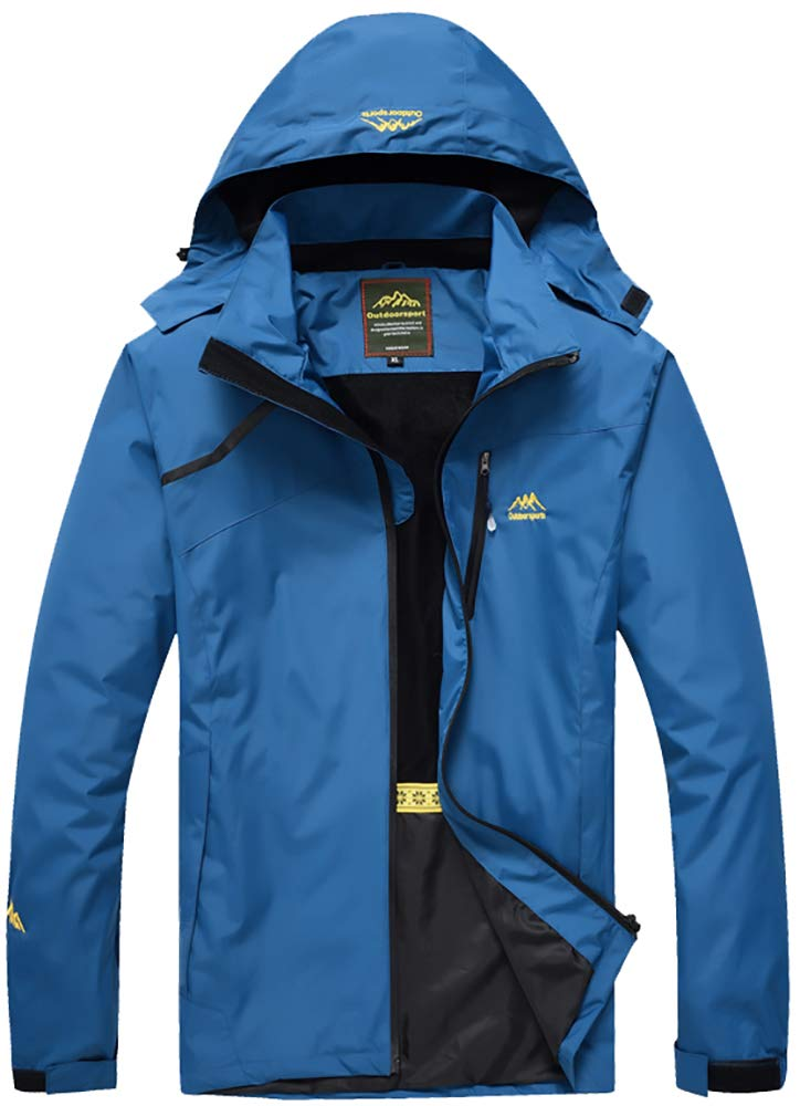 blueee Small YXP Men's Waterproof Rain Jacket Windproof Raincoat Outdoor Hooded Windbreaker