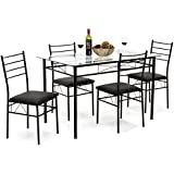 Best Choice Products Home 5 Piece Dining Table Set W/Glass Table Top,