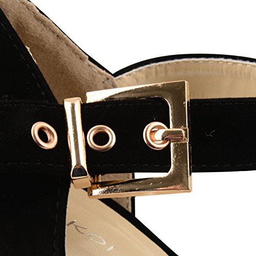 Para mujer diseño de Leigh Ann Tennant con plataforma ajustados Stiletto de tacones de zapatos de traje de neopreno para mujer y pedrería para mujer de talla de negro