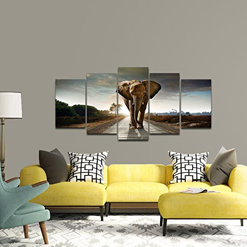 Beau Amazon.com: Wieco Art Elephant Canvas Prints Wall Art Animals Pictures To  Photo Paintings Decor For Living Room Bedroom Home Decorations 5 Piece  Modern ...