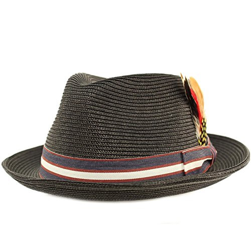 Men's Stripe Band Removable Feather Derby Fedora Curled Brim Hat (Fedora Hat With Feather)
