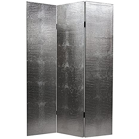Oriental Furniture 6 ft. Tall Faux Leather Silver Crocodile Room Divider