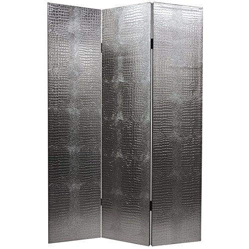 Oriental Furniture 6 ft. Tall Faux Leather Silver Crocodile Room Divider by ORIENTAL FURNITURE