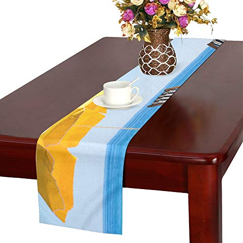 WHIOFE Pair of Sun Loungers and A Beach Umbrella On A Des Table Runner, Kitchen Dining Table Runner 16 X 72 Inch for Dinner Parties, Events, Decor ()