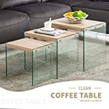 Wood and Glass Coffee Table Sets Mecor Nesting Table Set of 3 Glass Side End Coffee Table Wood Top Living Room Furniture Butternut