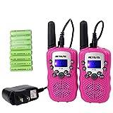 Retevis RT-388 Kids Walkie Talkies Rechargeable 22CH Toy Girls Pink Walkie Talkies for Kids(1 Pair)