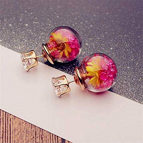Murano Rose Pendant - GerTong 1 Pair Woman's Stud Earrings Murano Inspiration Spiral Flower Glass Water Drop Earrings Simple Design Charming Accessories Gifts for Women Girls Lover Friends (Rose Red)
