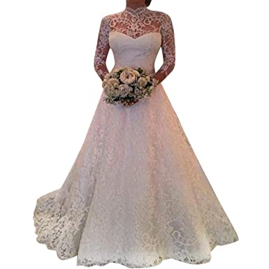 diandianshop Women Long Sleeves Lace Wedding Dress Elegant Party Evening  Slim Maxi Dresses Yellow  Amazon.in  Clothing   Accessories fbce1caf5e4