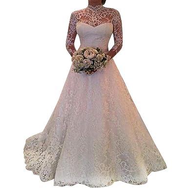 Vovotrade❀ Abito da Sposa da Donna Manica Lunga da Sposa in Pizzo da Cerimonia Abiti Eleganti da Sera Eleganti Senza Spalline