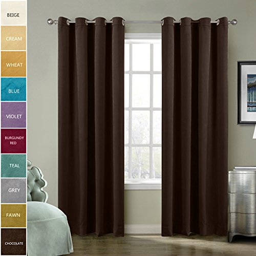 Nickel Matt Track - ChadMade Solid Matt Heavy Velvet Curtain Drape Panel Super Soft Nickel Grommet Chocolate 50Wx96L Inch (Set of 2 Panels) BIRKIN Collection Theater| Bedroom| Living Room| Hotel