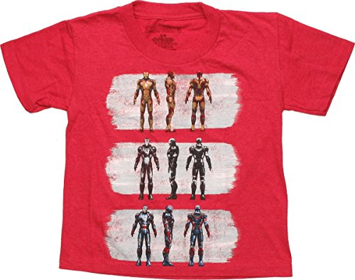 [Iron Man 3 Suits of Armor Red Juvenile T-Shirt, Small_4] (Iron Man Armor Suits)