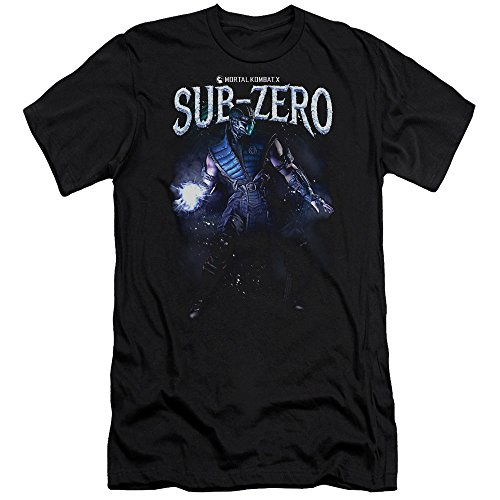 mortal-kombat-sub-zero-mens-premium-slim-fit-shirt-black-small