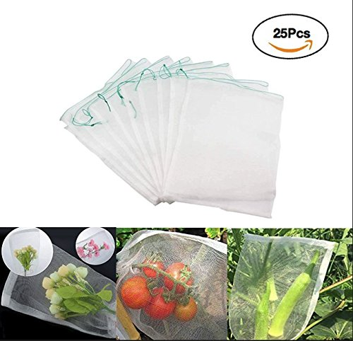 LAVZAN 7.5'' X11.8'' (25Pcs) Nylon Netting Protect Bags For Fruits Vegetables Protect Your Fruit From Birds Insects Squirrels by LAVZAN