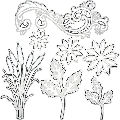 BBTO 7 Pieces Metal Cutting Dies Flower Leaves Cattail Plant Stencil Template for DIY Scrapbook Album and Card Making