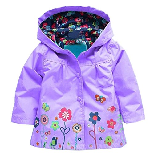 Arshiner Girl Baby Kid Waterproof Hooded Coat Jacket Outwear Raincoat Hoodies 2-9 Y Purple