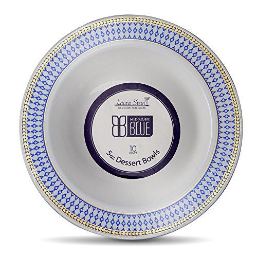 Designer Plastic Bowls - Laura Stein Designer Tableware Premium Heavyweight 5 Ounce White Bowl And Blue & Gold Border Plastic Party & Wedding Dessert Bowls Midnight Blue Series Disposable Dishes Pack of 40 Dessert Bowls