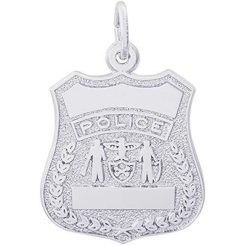 - Rembrandt Charms 14K White Gold Police Badge Charm (20 x 18 mm)