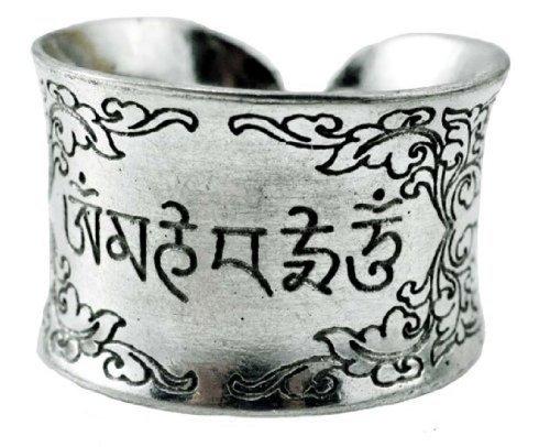 White Metal Om Mani Padme Hum Tibetan Ring