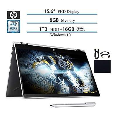 "HP 2019 Premium Flagship Pavilion X360 2 in 1 15.6"" Micro-Edge Touchscreen FHD Laptop, Intel i3-8130U, 8GB RAM, 1TB HHD, 16GB Intel Optane, Bluetooth, Win 10, Silver, HP Stylus w/ HESVAP Accessories"