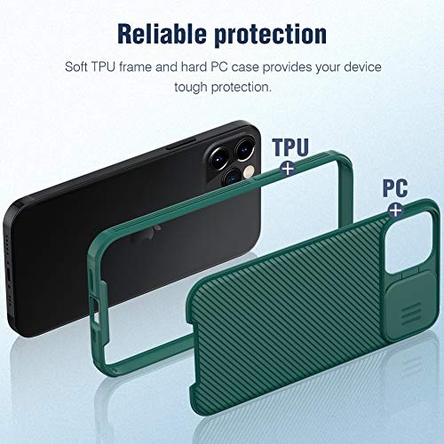 Nillkin CamShield Pro Slim Case Compatible with iPhone 12 Pro Max, Protective Cover Case with Camera Protector for 12 Pro Max Hard PC and TPU Phone Case for Phone 12 Pro Max 6.7'' Green